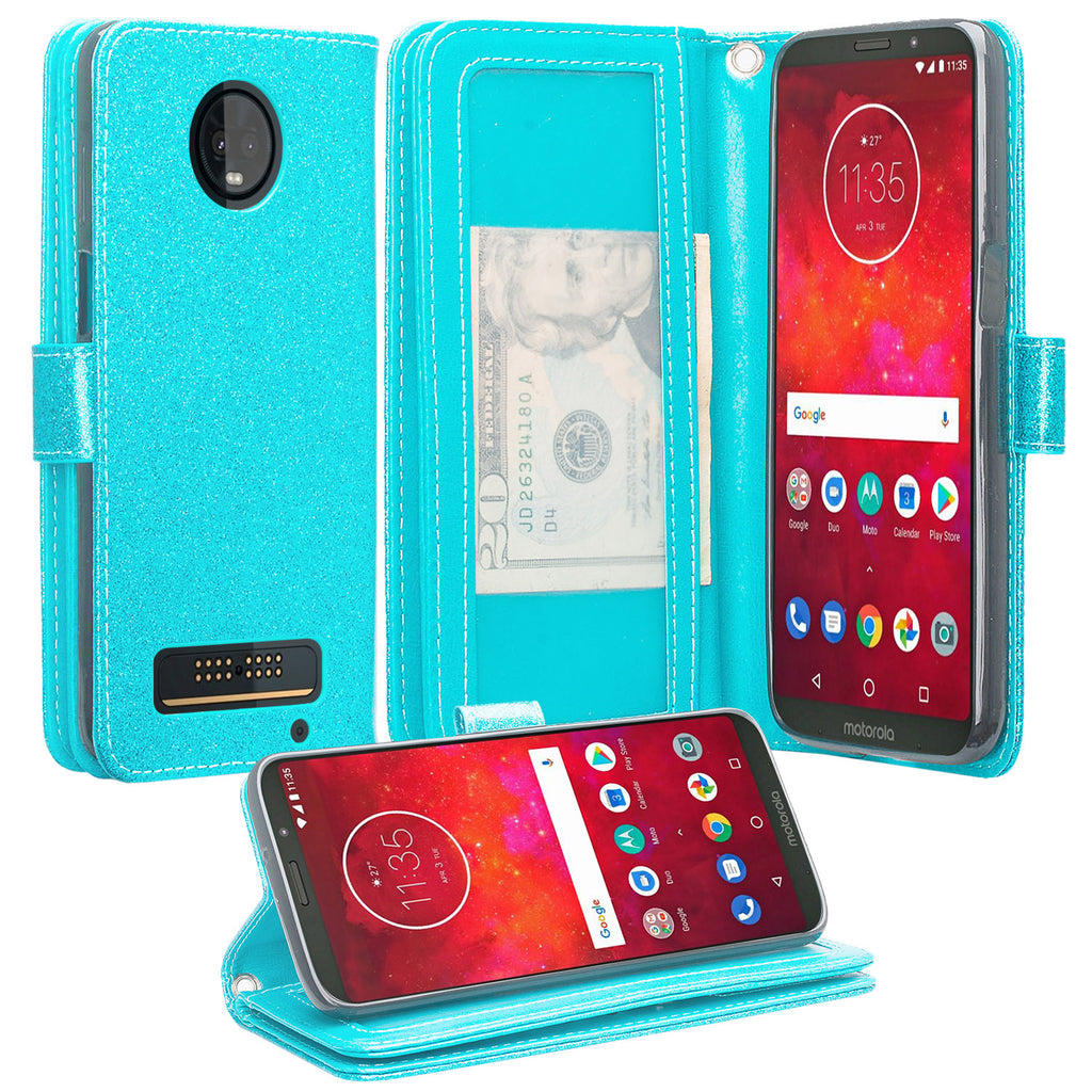 timeless design 879b9 46f95 Motorola Moto Z3 Play Case, [Wrist Strap] Glitter Faux Leather Flip  [Kickstand Feature] Protective Wallet Case Cover Clutch - Teal
