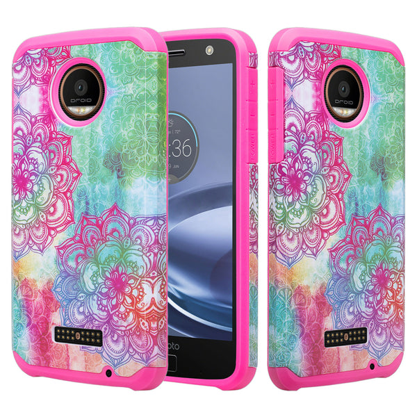 Moto Z Force Droid Case, Motorola Z Force Droid Hybrid Dual Layer Slim Case - Teal Flower - www.coverlabusa.com