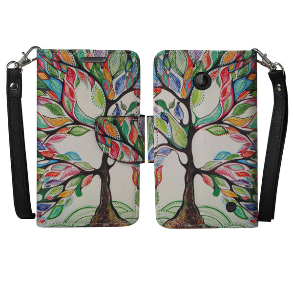 Nokia Lumia 635 Wallet Case - colorful tree - www.coverlabusa.com