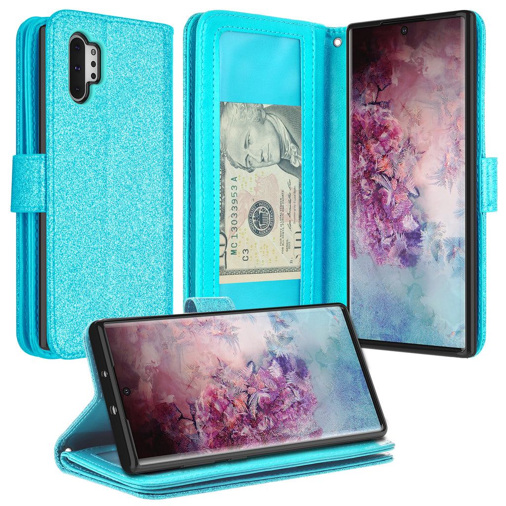 for Samsung Galaxy Note 10 Plus Wallet Case with Screen Protector,QFFUN Glitter 3D Pattern Blue Butterfly Magnetic Stand Leather Phone Case with Card Holder Shockproof Protective Flip Cover