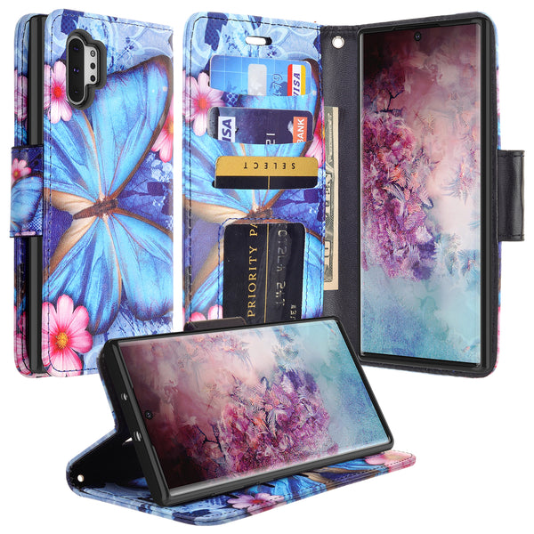 samsung galaxy note 10 plus wallet case - blue butterfly - www.coverlabusa.com