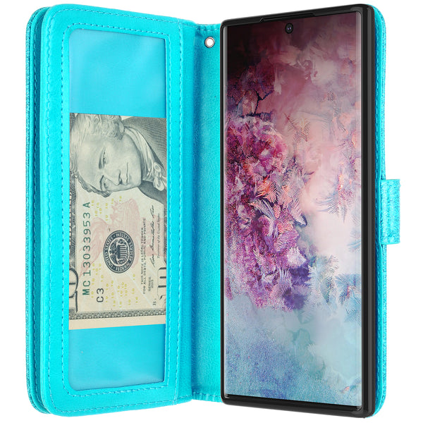 samsung galaxy note 10 plus glitter wallet case - teal - www.coverlabusa.com