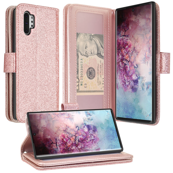 samsung galaxy note 10 plus glitter wallet case - rose gold - www.coverlabusa.com