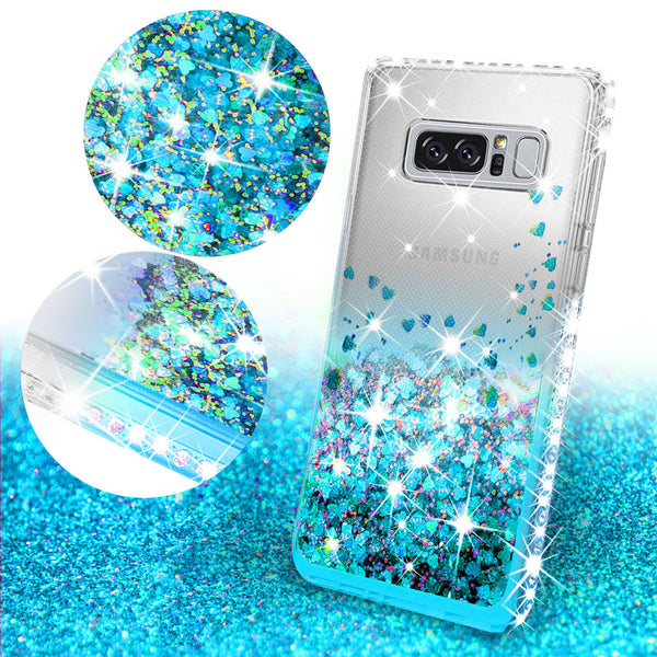 clear liquid phone case for samsung galaxy note 8 - teal - www.coverlabusa.com
