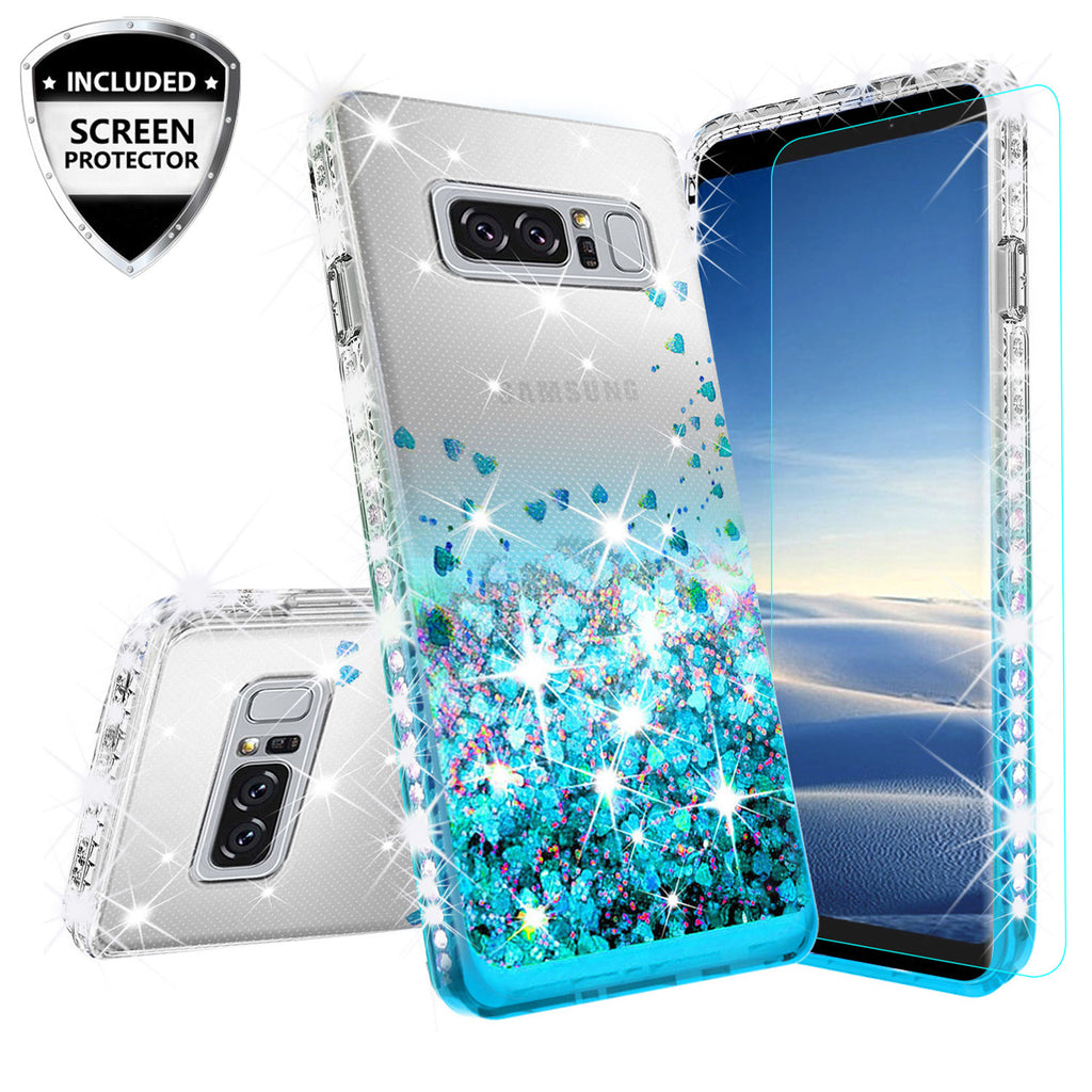 official photos 7d667 831d2 Samsung Galaxy Note 8 Case Liquid Glitter Phone Case Waterfall Floating  Quicksand Bling Sparkle Cute Protective Girls Women Cover for Galaxy Note 8  - ...