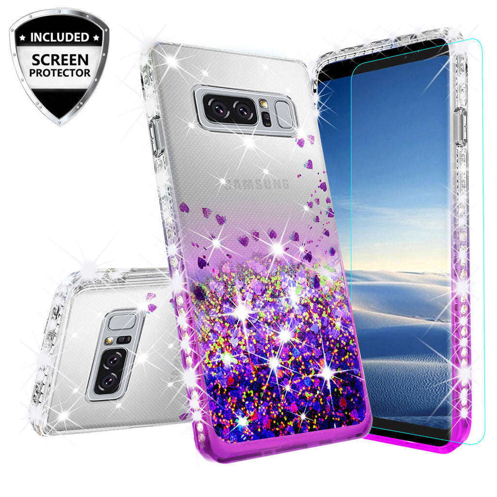 official photos 311b8 ae55f Samsung Galaxy Note 8 Case Liquid Glitter Phone Case Waterfall Floating  Quicksand Bling Sparkle Cute Protective Girls Women Cover for Galaxy Note 8  - ...