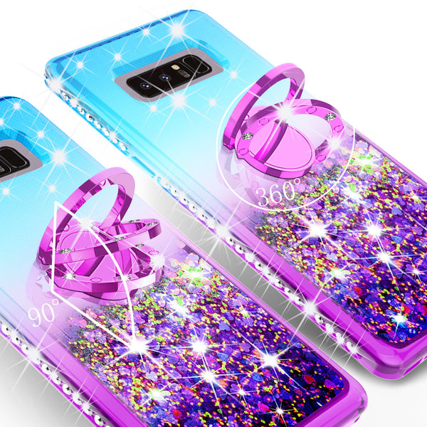 glitter ring phone case for samsung galaxy note 8 - teal gradient - www.coverlabusa.com