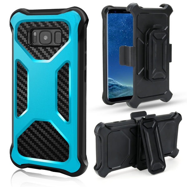 Samsung Galaxy Note 8 carbon fiber combo case - teal - www.coverlabusa.com
