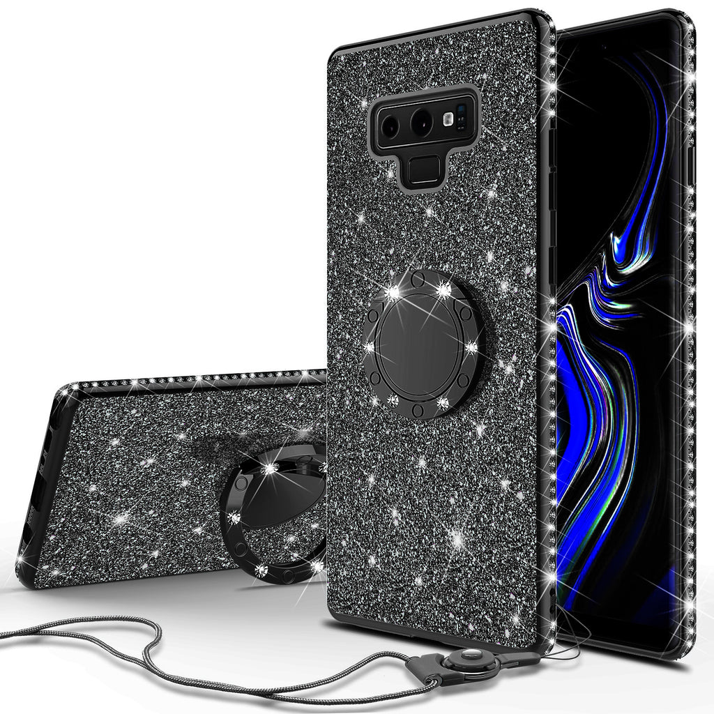 promo code 0f4d4 56b5f Samsung Galaxy Note 9 , SM-N960U Case, Glitter Cute Phone Case Girls with  Kickstand,Bling Diamond Rhinestone Bumper Ring Stand Sparkly Luxury Clear  ...