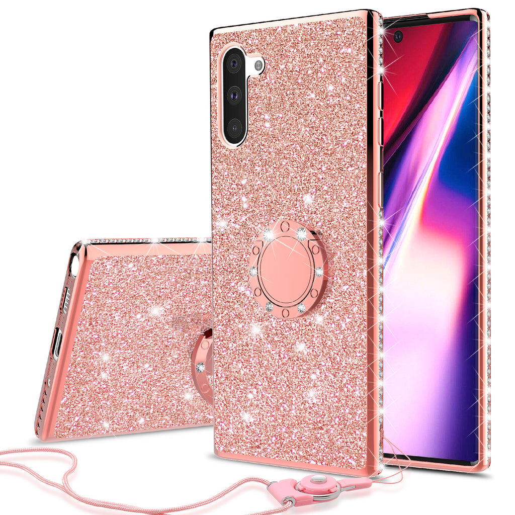 samsung galaxy note 10 plus glitter bling fashion case - rose gold - www.coverlabusa.com