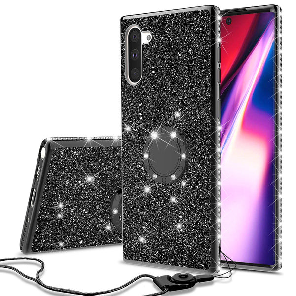 samsung galaxy note 10 glitter bling fashion case - black - www.coverlabusa.com