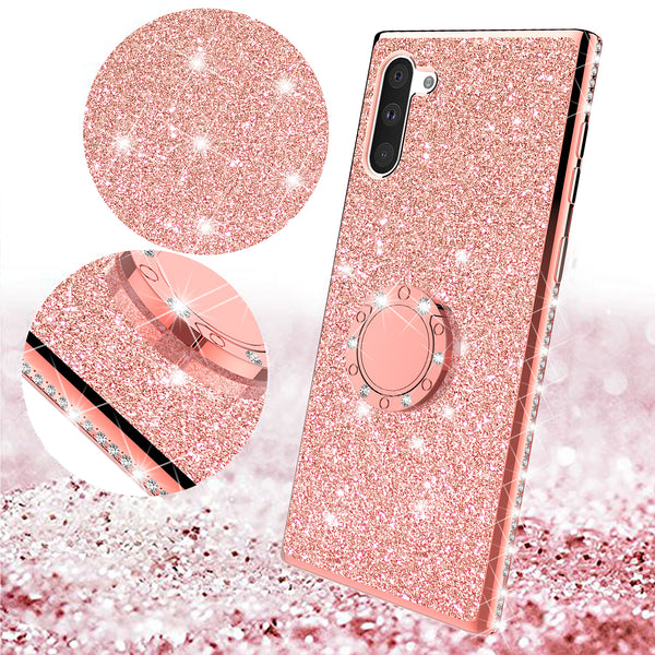 samsung galaxy note 10 glitter bling fashion case - rose gold - www.coverlabusa.com
