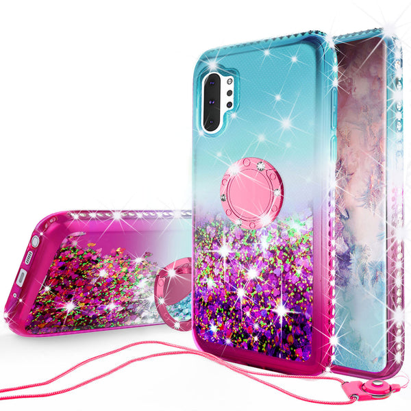glitter phone case for samsung galaxy note 10 - teal/pink gradient - www.coverlabusa.com