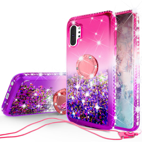 glitter phone case for samsung galaxy note 10 plus - hot pink/purple gradient - www.coverlabusa.com