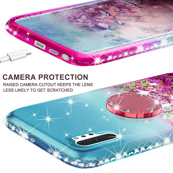 glitter phone case for samsung galaxy note 10 plus - teal/pink gradient - www.coverlabusa.com