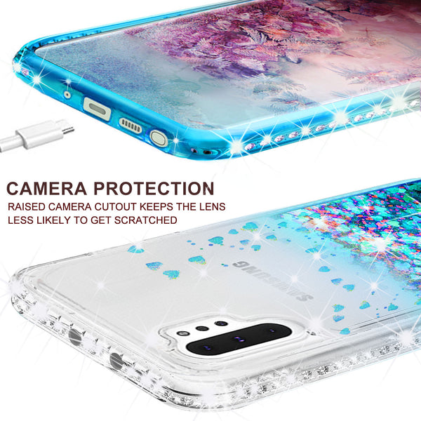 clear liquid phone case for samsung galaxy note 10 plus - teal - www.coverlabusa.com