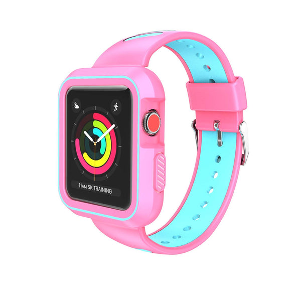 Nylon Sport Loop Replacement Strap for iWatch Apple Watch Series 3,Series 2, Series1,Hermes,Nike+- pink+teal - www.coverlabusa.com