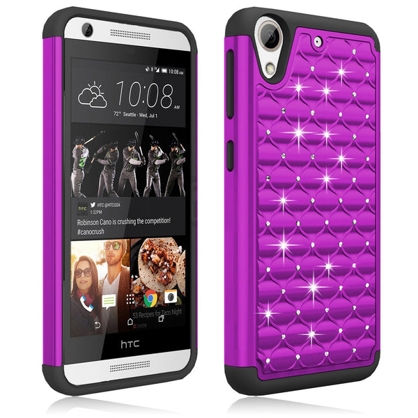 htc desire 626 diamond hybrid case - purple black - www.coverlabusa.com