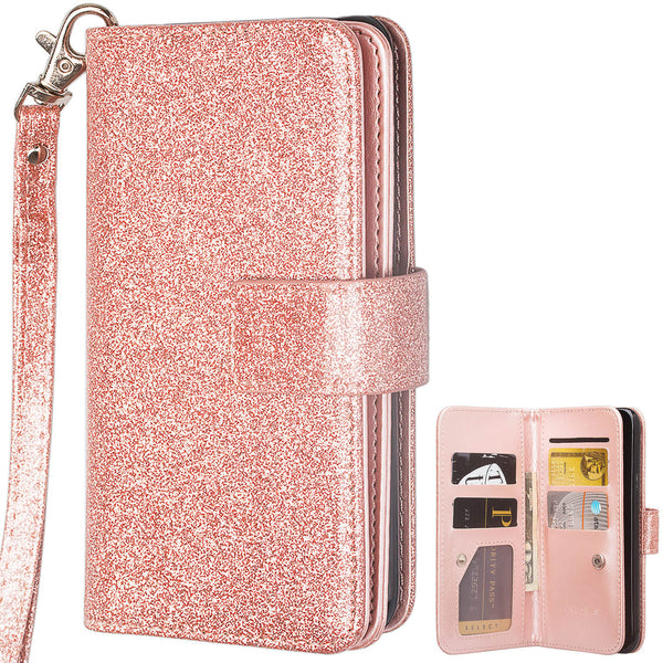 Samsung Galaxy S10 Plus Glitter Wallet Case - Rose Gold - www.coverlabusa.com