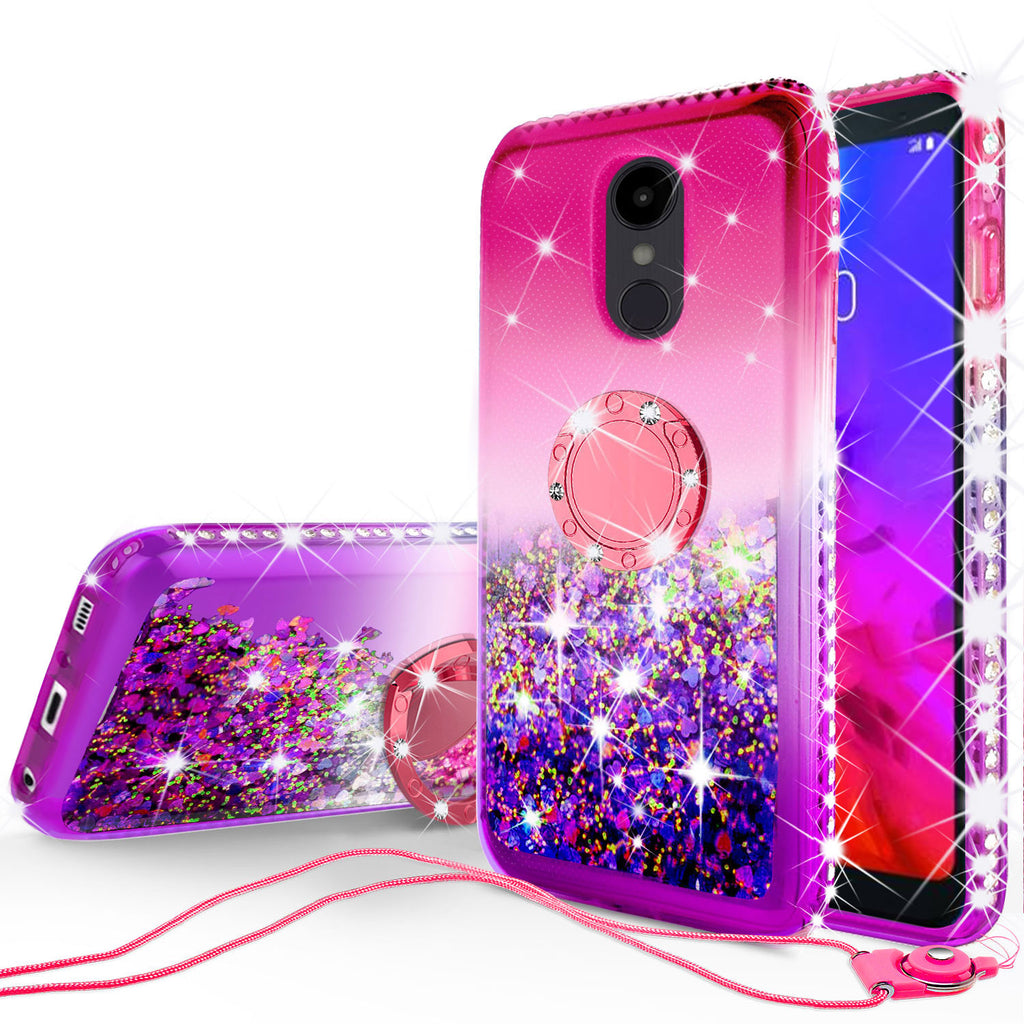 factory authentic e0afc 79504 Glitter Phone Case Kickstand Compatible for LG Q7, Q7 Plus Case,Ring Stand  Liquid Floating Quicksand Bling Sparkle Protective Girls Women for LG Q7/Q7  ...