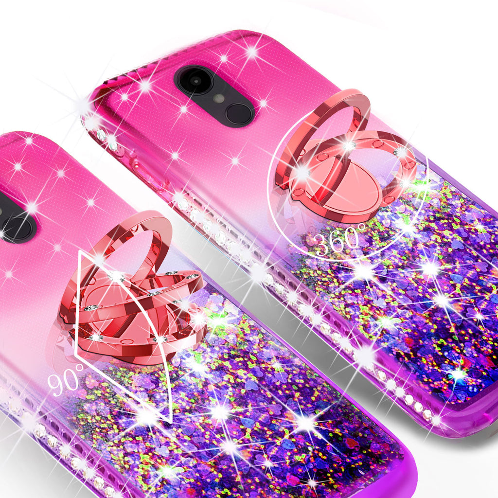 Glitter Phone Case Kickstand Compatible for LG Q7, Q7 Plus Case,Ring Stand  Liquid Floating Quicksand Bling Sparkle Protective Girls Women for LG Q7/Q7