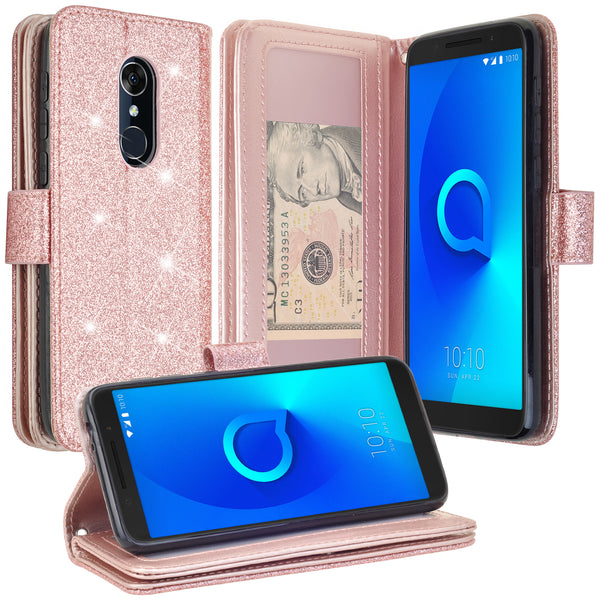 Alcatel Revvl 2 Glitter Wallet Case - Rose Gold - www.coverlabusa.com