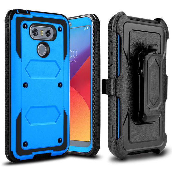 LG G6 heavy duty holster case - blue - www.coverlabusa.com