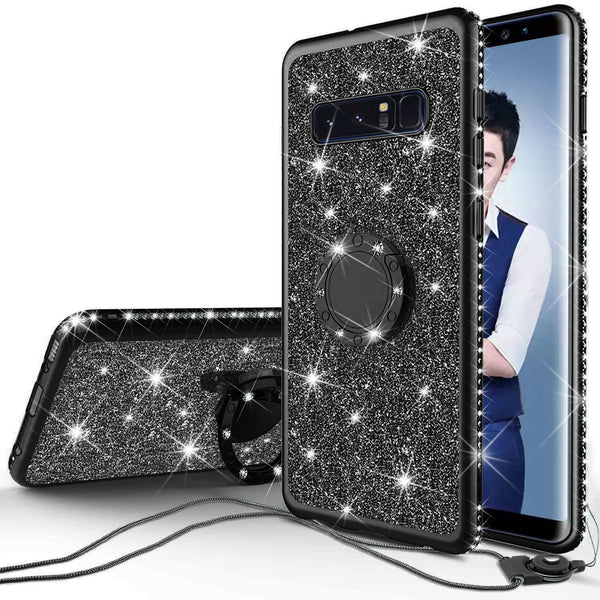 samsung galaxy s10e glitter bling fashion case - black - www.coverlabusa.com