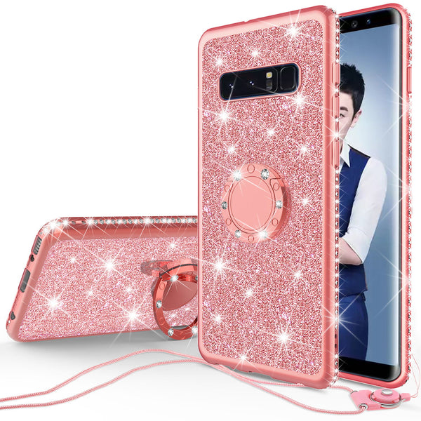 samsung galaxy s10 plus  glitter bling fashion case - rose gold - www.coverlabusa.com