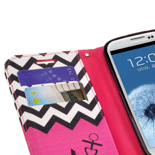 samsung galaxy S3 leather wallet case - hot pink anchor - www.coverlabusa.com