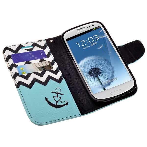 samsung galaxy S3 leather wallet case - teal anchor - www.coverlabusa.com