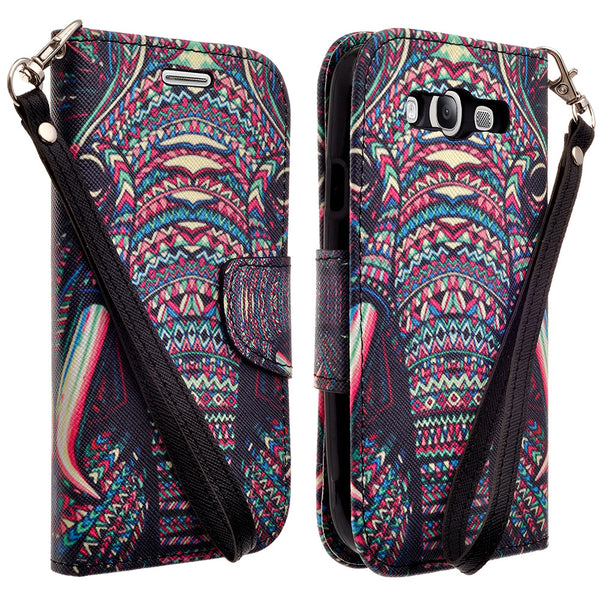 samsung galaxy S3 leather wallet case - tribal elephant - www.coverlabusa.com