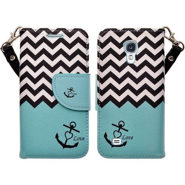samsung galaxy s4 mini leather wallet case - teal anchor - www.coverlabusa.com
