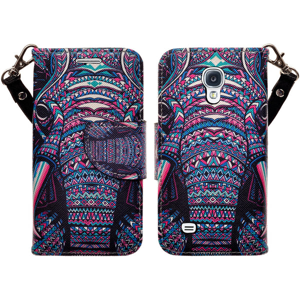samsung galaxy s4 mini leather wallet case - tribal elephant - www.coverlabusa.com