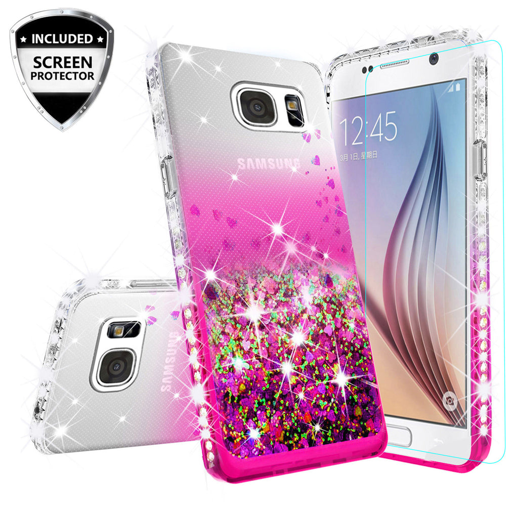 wholesale dealer 10dc6 763f5 Samsung Galaxy S7 Case Liquid Glitter Phone Case Waterfall Floating  Quicksand Bling Sparkle Cute Protective Girls Women Cover for Galaxy S7 -  Hot Pink