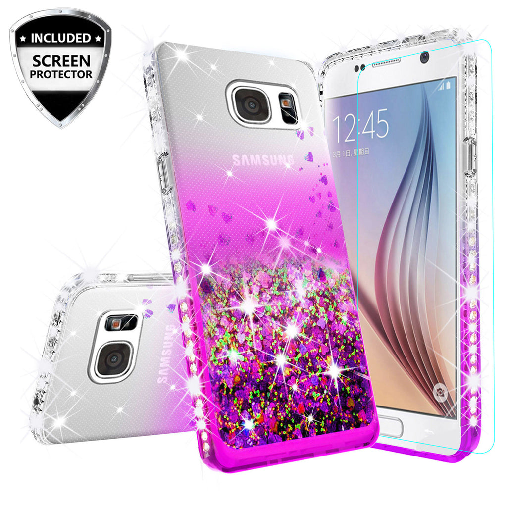 classic fit 2a10a 85b1a Samsung Galaxy S7 Edge Case Liquid Glitter Phone Case Waterfall Floating  Quicksand Bling Sparkle Cute Protective Girls Women Cover for Galaxy S7  Edge ...