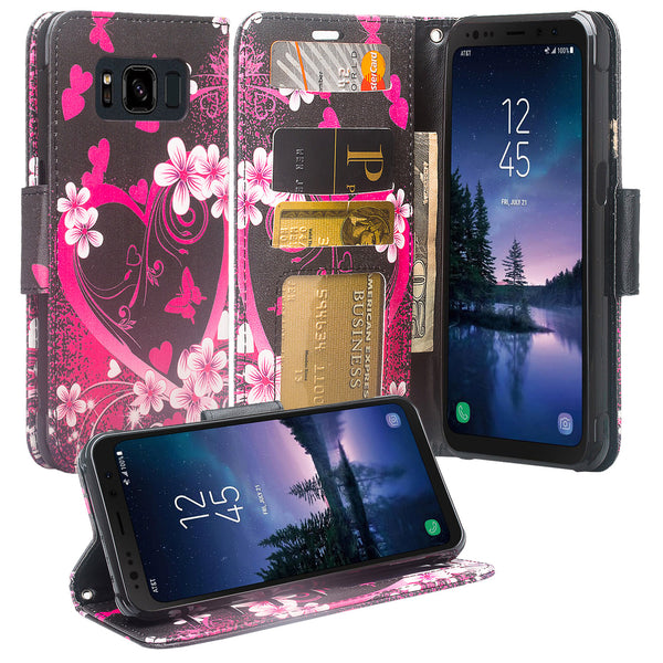 Samsung Galaxy S8 Active Wallet Case - heart butterflies - www.coverlabusa.com