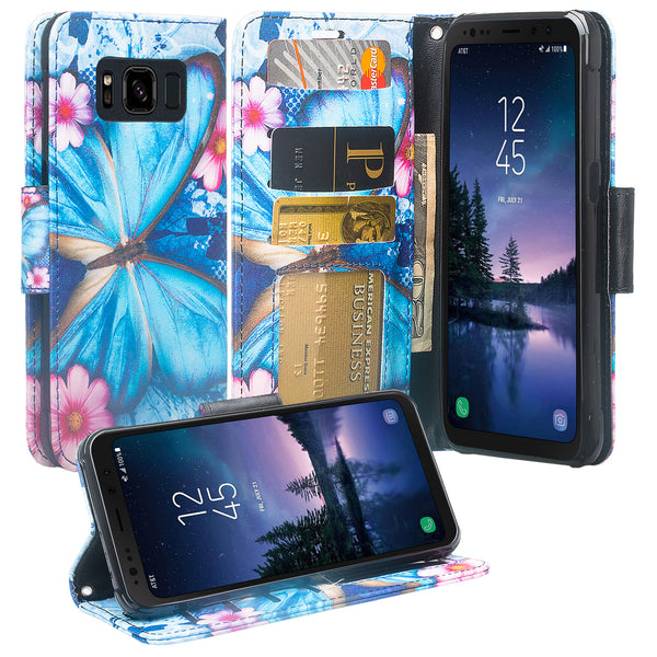 Samsung Galaxy S8 Active Wallet Case - blue butterfly - www.coverlabusa.com