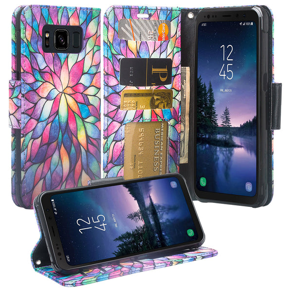 Samsung Galaxy S8 Active Wallet Case - rainbow flower - www.coverlabusa.com