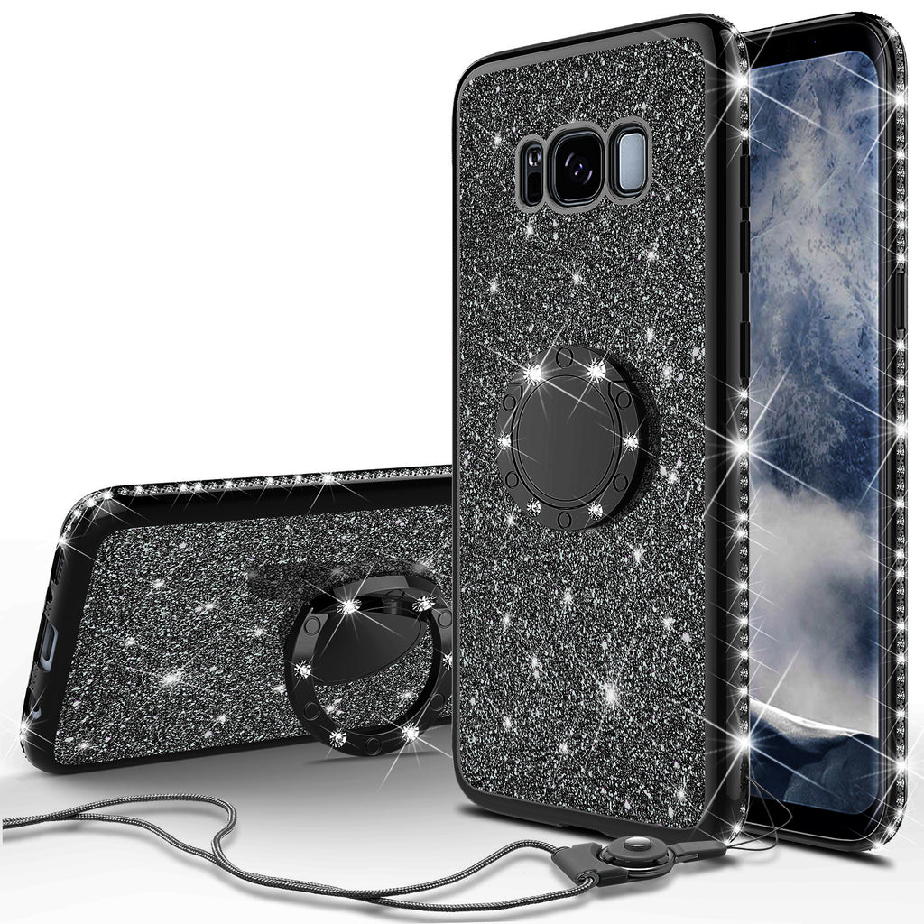 on sale fe171 19a51 Samsung Galaxy S8 Plus Case, SM-G955 Case, Glitter Cute Phone Case Girls  with Kickstand,Bling Diamond Rhinestone Bumper Ring Stand Sparkly Luxury ...