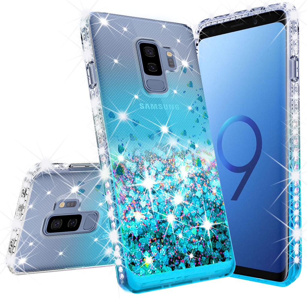 the best attitude 8ace1 b58e6 Samsung Galaxy S9 Case Liquid Glitter Phone Case Waterfall Floating  Quicksand Bling Sparkle Cute Protective Girls Women Cover for Galaxy S9 -  Teal