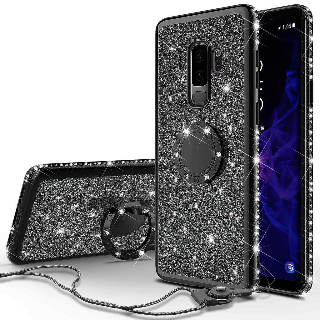 best service 9e520 27363 Samsung Galaxy S9 Plus Case, SM-G965U Case, Glitter Cute Phone Case Girls  with Kickstand,Bling Diamond Rhinestone Bumper Ring Stand Sparkly Luxury ...