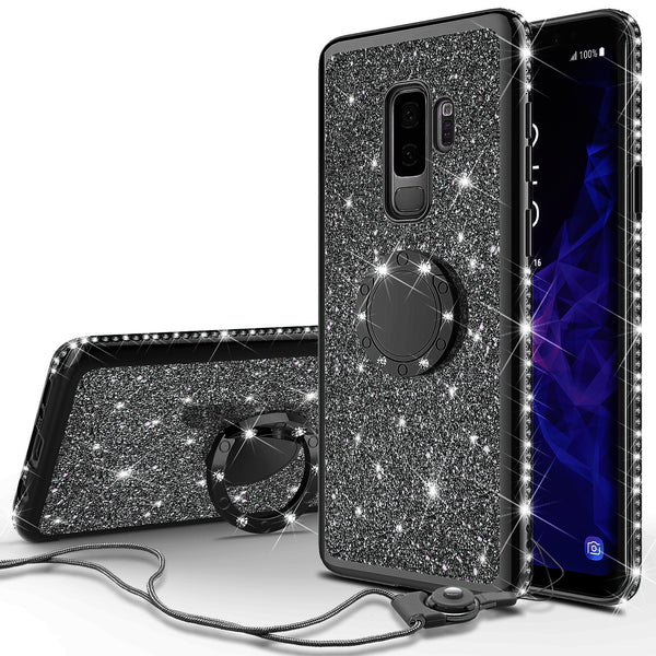 samsung galaxy s9 glitter bling fashion case - black - www.coverlabusa.com