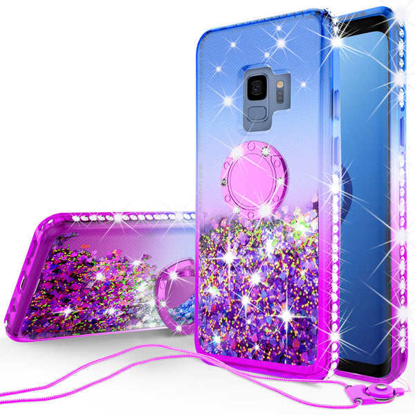 glitter ring phone case for samsung galaxy s9- blue gradient - www.coverlabusa.com
