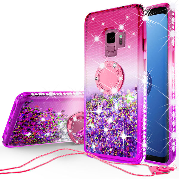 glitter ring phone case for samsung galaxy s9 plus - pink gradient - www.coverlabusa.com