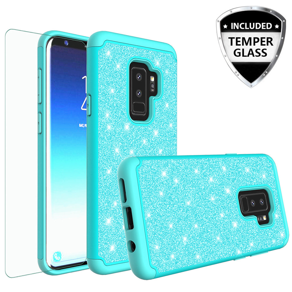 best sneakers 4352c a38ab Samsung Galaxy S9 Plus Case, Galaxy S9 Plus Glitter Bling Heavy Duty Shock  Proof Hybrid Case with [HD Screen Protector] Dual Layer Protective Phone ...