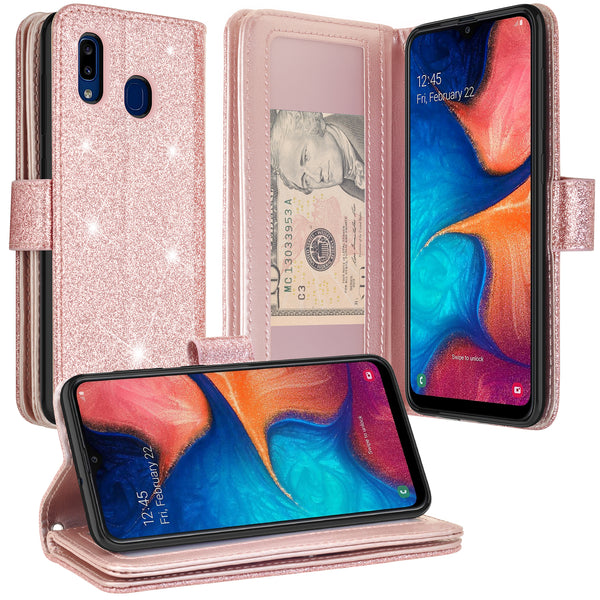 samsung galaxy a10e glitter wallet case - rose gold - www.coverlabusa.com