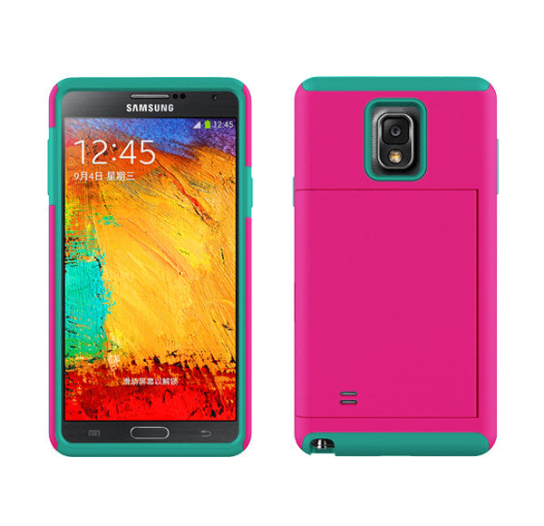 sale retailer de896 583d4 Samsung Galaxy Note 4 Dual Layer Credit Card Hybrid Case , ID Holder with  Kickstand - Teal/Hot Pink