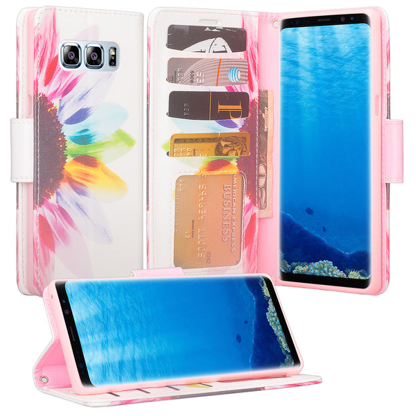 Samsung Galaxy Note 8 Case, Galaxy Note 8 Wallet Case, Slim Flip Folio [Kickstand] Pu Leather Wallet Case with ID & Card Slots & Pocket + Wrist Strap - Vivid Sunflower