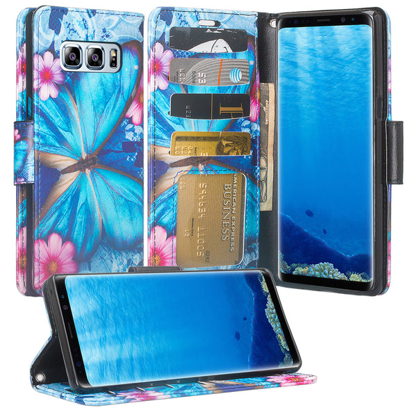 Samsung Galaxy Note 8 Case, Galaxy Note 8 Wallet Case, Slim Flip Folio [Kickstand] Pu Leather Wallet Case with ID & Card Slots & Pocket + Wrist Strap - Blue Butterfly